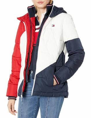 Tommy Hilfiger Women's Diagonal Stripe Puffer Jacket
