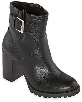 A.N.A Womens Ronnie Block Heel Motorcycle Boots