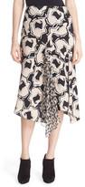Diane von Furstenberg Posey Ruffle Detail Print Drop Yoke Skirt