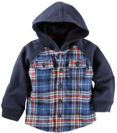 Osh Kosh Flannel & French Terry Hooded Shirt Jacket