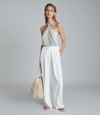 Reiss Brianna - Striped Halterneck Top in White/ Green