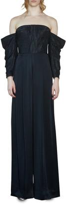 Flor Et. Al Flor Et.Al Judith Moire & Crepe Off-the-Shoulder Full-Sleeve Jumpsuit