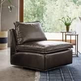 west elm Flanged Edge Leather Armless Swivel Chair
