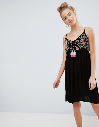 Glamorous Cami Dress With Embroidered Panel And Tassle Ties-Black