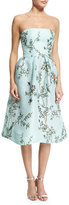 Monique Lhuillier Strapless Bird-Print Silk Gazar Dress, Seafoam/Multi