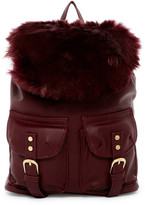 T-Shirt & Jeans Faux Fur Flap Small Backpack