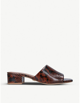 Kurt Geiger Palma snakeskin-embossed leather heeled mules