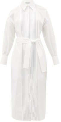 Brunello Cucinelli Monili-chain Cotton-poplin Shirt Dress - White