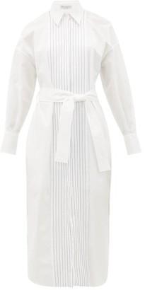 Brunello Cucinelli Monili-chain Cotton-poplin Shirt Dress - Womens - White