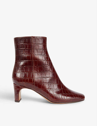 Maje Croc-embossed leather ankle boots