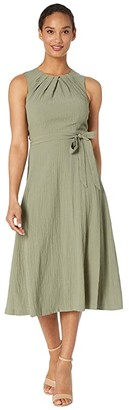 Calvin Klein Belted Midi Dress with Bodice Pleat Detail (Olive) Women's Dress
