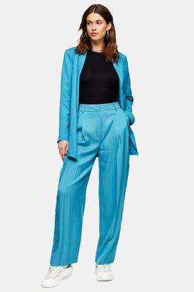 Topshop Womens Blue Jacquard Striped Wide Leg Trousers - Aqua