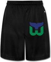 LAOdaa Men's Hartford Whalers Hockey Logo Shorts Sweatpants