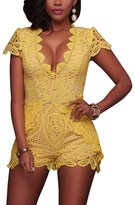 VANCOL Women's Sexy V-Neck Hollow Out Club Beach Shorts Lace Jumpsuit Rompers (XL, )