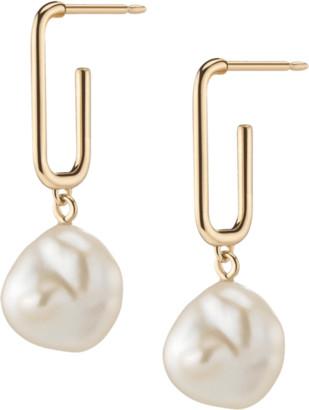 AUrate New York Organic Pearl Drop Rectangle Hoop Earrings