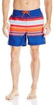 Original Penguin Men's Multi-Stripe Fixed-Waist Volley Swim Short