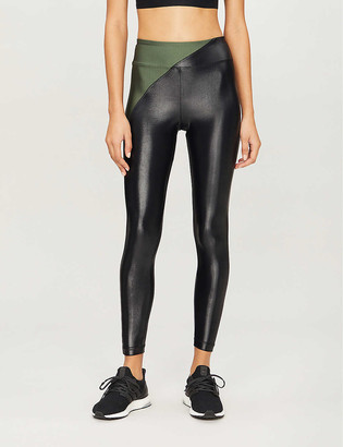 Koral Chase contrast-panel faux-leather leggings