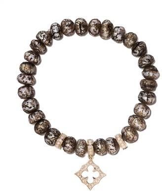Loree Rodkin 14kt Gold Diamond Stretch Etched Pearl Bracelet