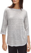 Eileen Fisher Crewneck Organic Linen Tunic Sweater