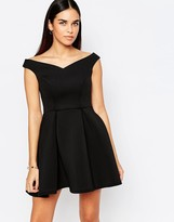 Jessica Wright Amelie Off Shoulder Skater Dress With Pleats