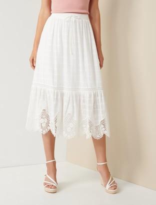 Forever New Willow Scallop-Hem Midi Skirt - Porcelain - 10