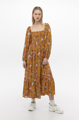 Urban Outfitters Odila Floral Smocked Midi Dress