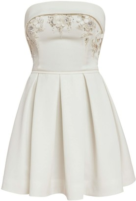 Cliché Reborn Bandeau Mini Pleated Dress With Floral Appliques & Hand Sewn Beads