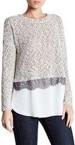 Bobeau Twofer Knit Sweater with Lace Trim
