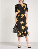 Simone Rocha Floral-print fit-and-flare silk-crepe dress