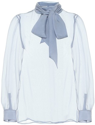 Saint Laurent Tie-neck sheer silk chiffon blouse