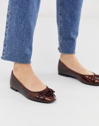 Asos Design DESIGN Loretta bow ballet flats in brown croc
