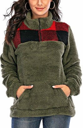Les umes Womens Plaid Fleece Half Zipper Sweatshirt Fluffy Sherpa Long Sleeve Pullover Jacket Outwear Red-Black XL
