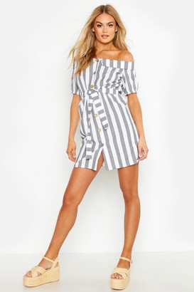 boohoo Off The Shoulder Belted Linen Stripe Dress