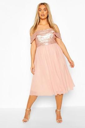 boohoo Plus Occasion Sequin Bardot Midi Dress