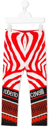 Roberto Cavalli Junior Zebra Print Leggings