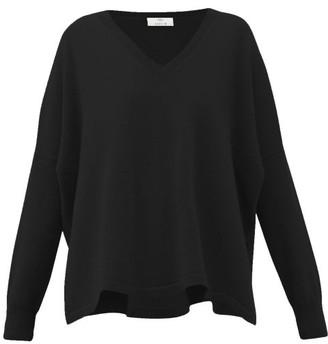 Allude V-neck Oversized Cashmere Sweater - Black