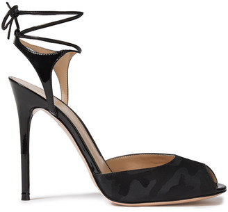 Gianvito Rossi Muse 105 Patent-leather And Jacquard Sandals