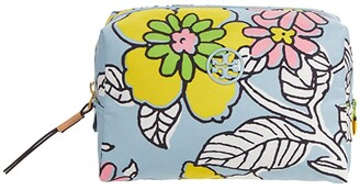 Tory Burch Piper Printed Small Cosmetic Case (Blue Wallpaper Floral) Handbags