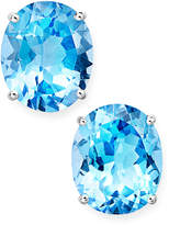 Macy's 14k White Gold Earrings, Oval-Cut Blue Topaz Stud Earrings (12 ct. t.w.)