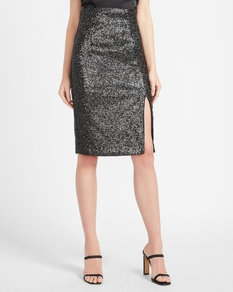 Express High Waisted Sequin Pencil Skirt