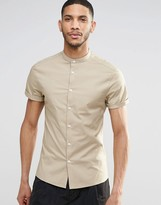 Asos Skinny Shirt With Grandad Collar And Short Sleeves In Stone