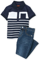 7 For All Mankind Toddler Boys) Two-Piece Striped Polo & Jeans Set