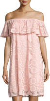 Neiman Marcus Off-the-Shoulder Lace Dress, Blush