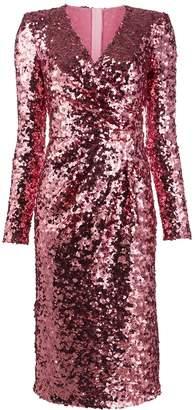 Dolce & Gabbana sequinned V-neck long-sleeved dress