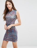 Lavand Abstract Print Bodycon Dress