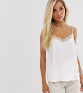 New Look lace edge cami in white