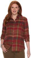 Chaps Plus Size Plaid Twill Button-Down Shirt