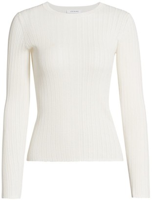 Frame Ribbed Silk & Cotton Sweater
