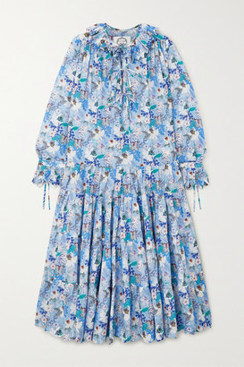 Evi Grintela Peony Tiered Floral-print Cotton-voile Midi Dress - Blue