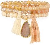 Panacea Crystal & Howlite Beaded Stretch Bracelets, Set of 3, Peach
